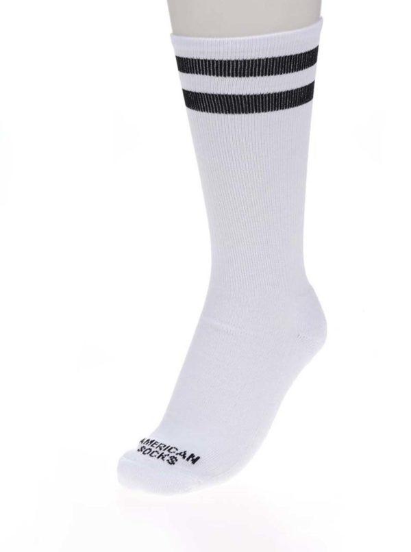 Biele unisex ponožky s pruhmi American Socks Old school I.
