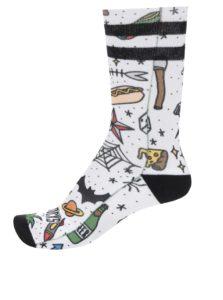 Biele unisex vzorované ponožky American Socks