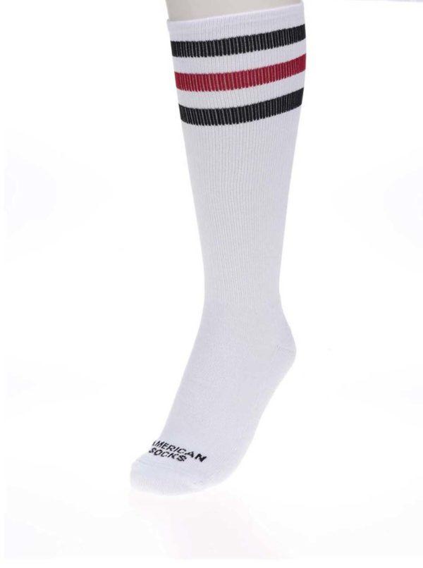 Biele unisex ponožky s pruhmi American Socks