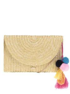 Béžová slamená listová kabelka s brmbolcami Nalí