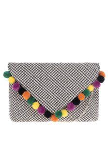 Čierno-krémová listová kabelka s farebnými brmbolcami Nalí