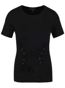 Čierne tričko so zaväzovaním v páse Miss Selfridge