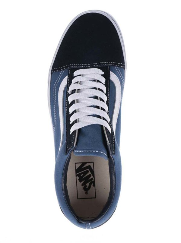 Bielo-modré pánske tenisky so semišovými detailmi VANS Old Skool