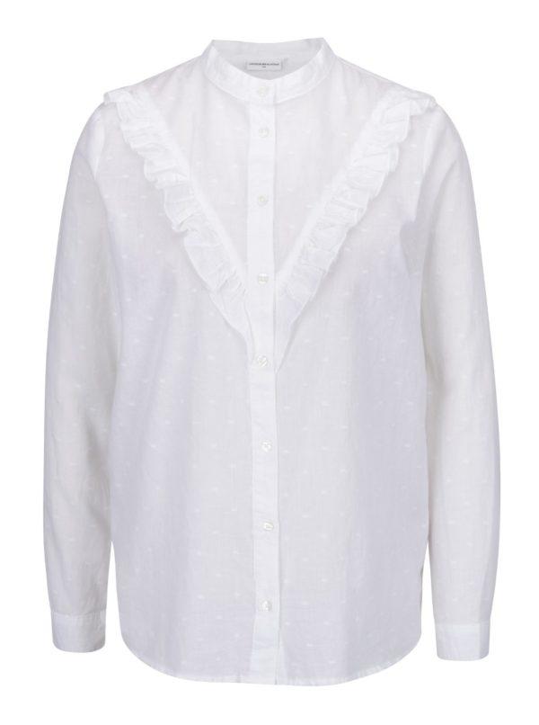 Biela vzorovaná košeľa s volánom Jacqueline de Yong Futura