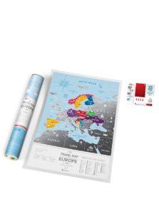 Stieracia mapa Európy v modro-striebornej farbe Travel Map