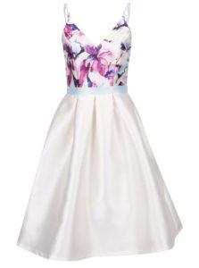 Krémové šaty s kvetinovým topom Chi Chi London Teisha