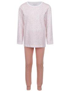 Oranžovo-biele dievčenské vzorované pyžamo name it Night