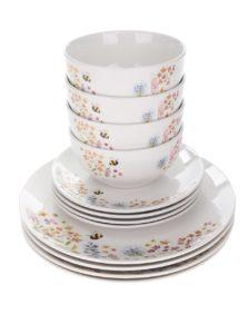 Súprava dvanástich kusov bieleho porcelánového kvetovaného riadu Cooksmart