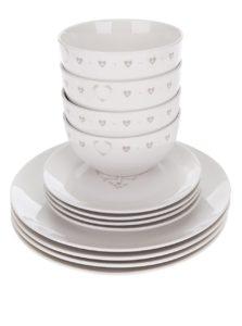 Súprava dvanástich kusov bieleho porcelánového riadu s potlačou Cooksmart