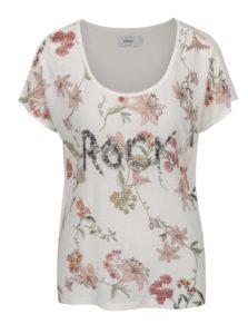 Krémové voľné kvetované tričko s prímesou ľanu ONLY Iris