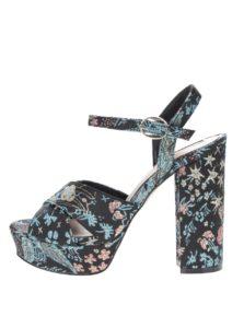 Čierne vzorované sandáliky na platforme a vysokom podpätku Miss Selfridge