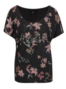 Čierne voľné kvetované tričko s prímesou ľanu ONLY Iris