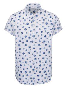 Biela košeľa s modrým vzorom Burton Menswear London