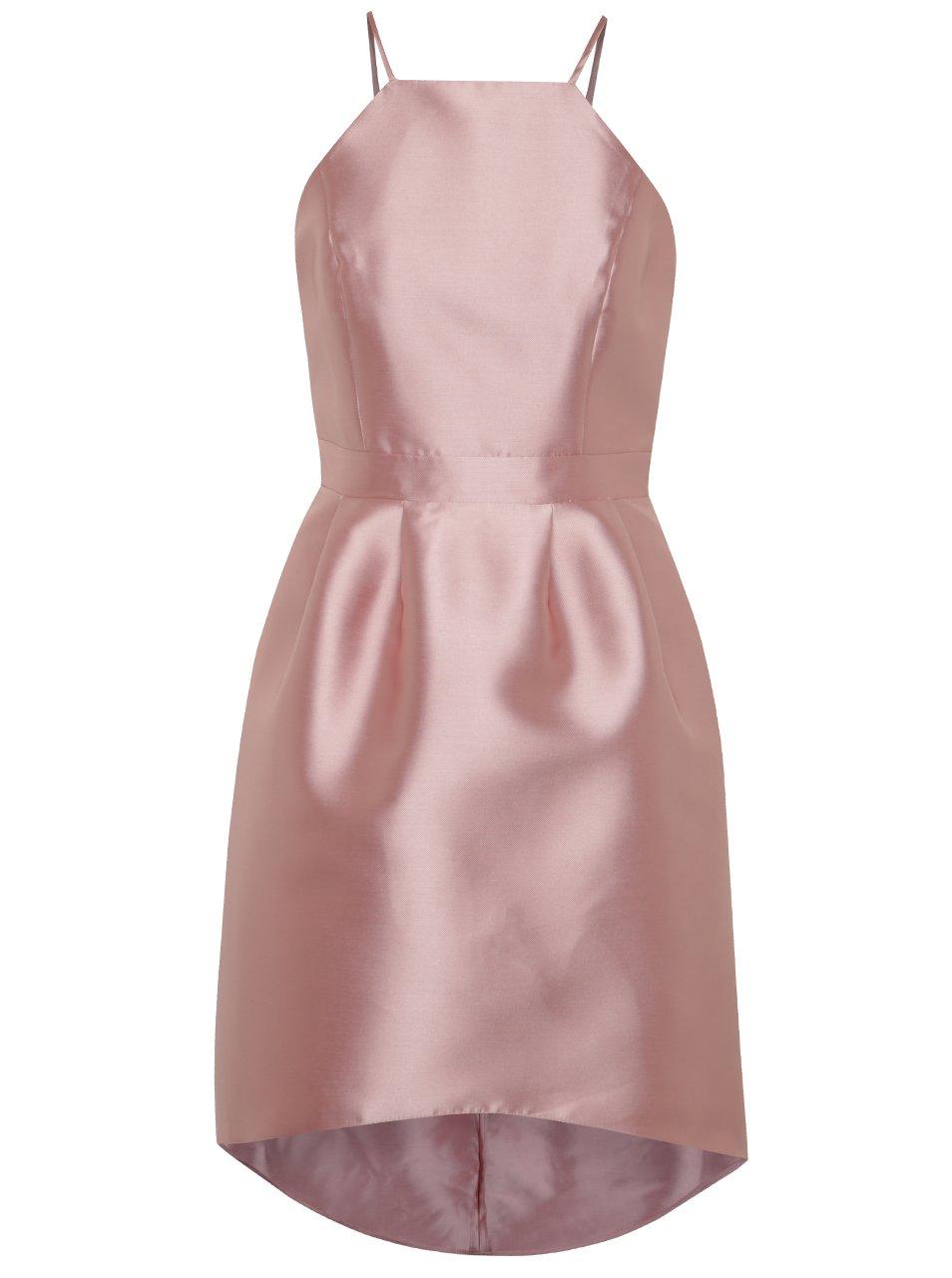 bb19d46878fc Svetloružové lesklé šaty na ramienka Miss Selfridge