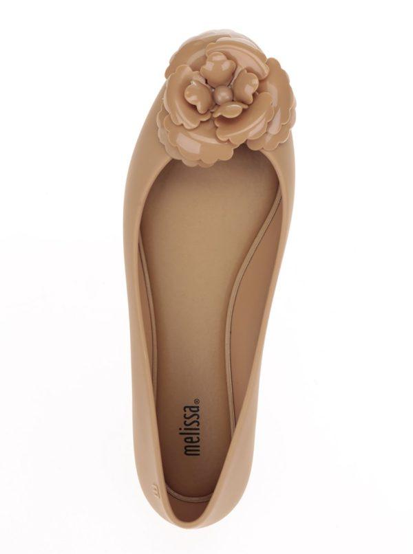 Béžové baleríny s aplikáciou v tvare kvetiny Melissa Doll Fem