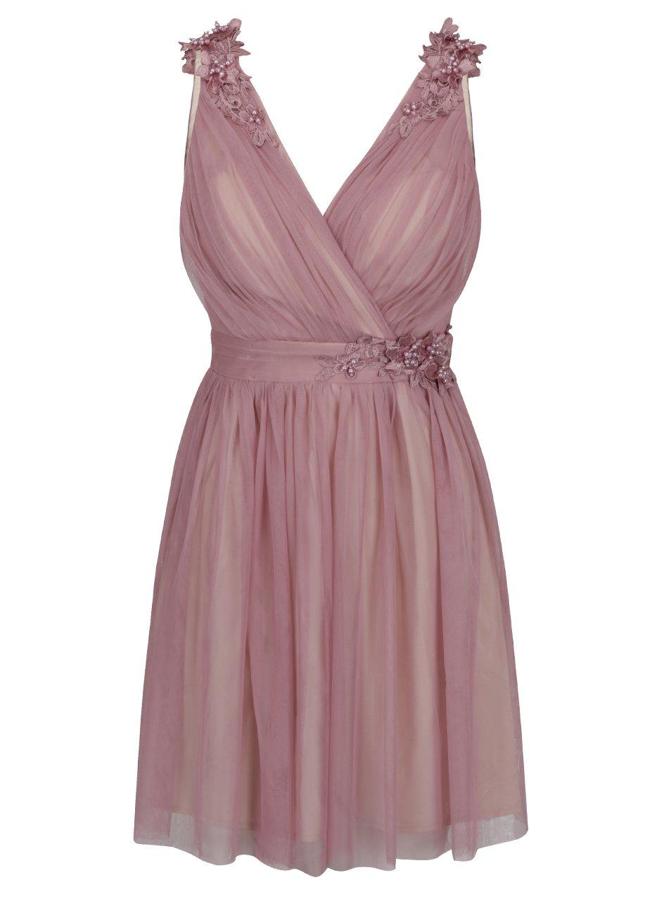 8a5e613b4aee Staroružové šaty s prekladaným výstrihom a plastickým zdobením Little  Mistress