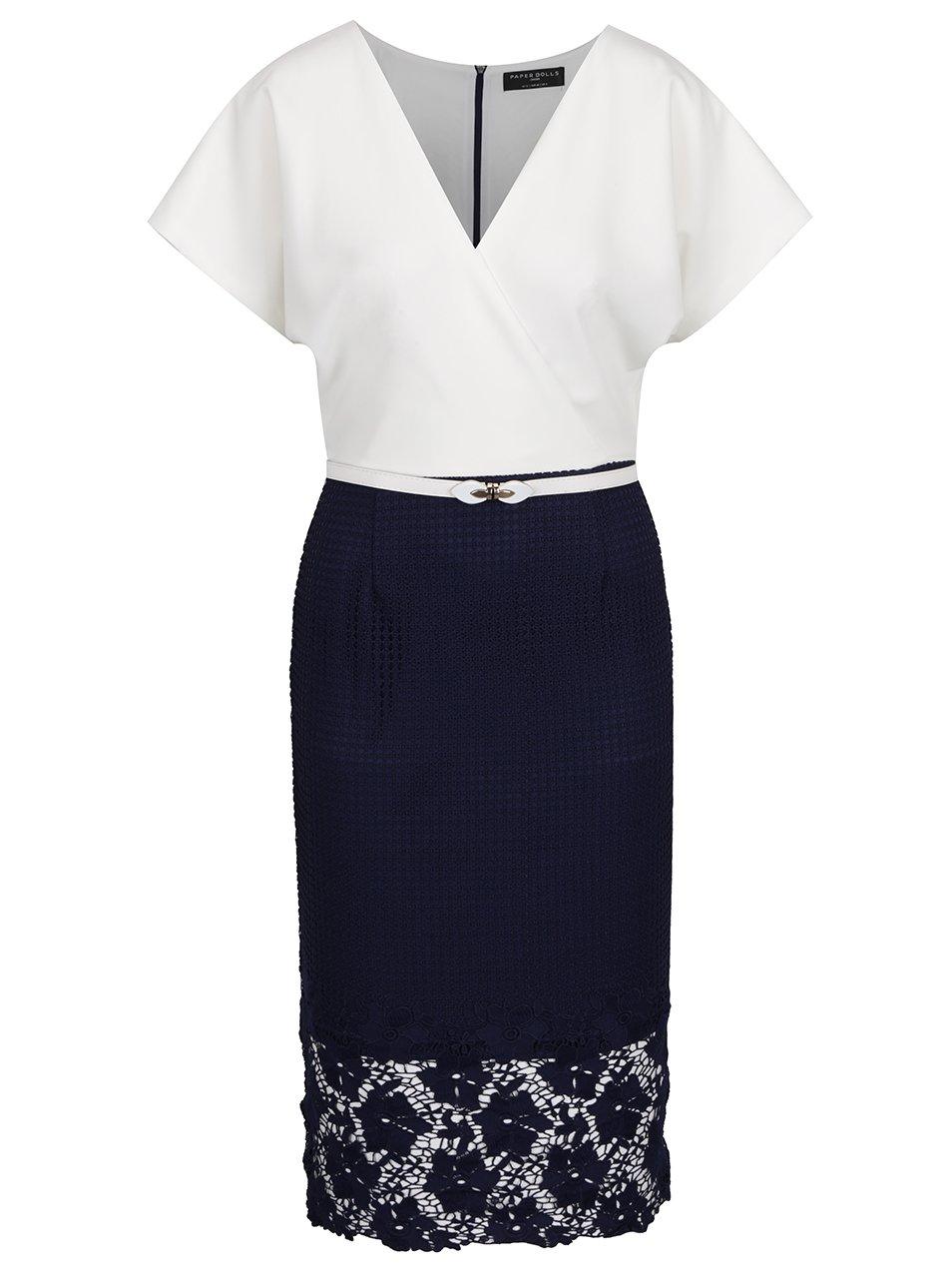 Krémovo-modré šaty s čipkovanou sukňou Paper Dolls  9c3240a93ad