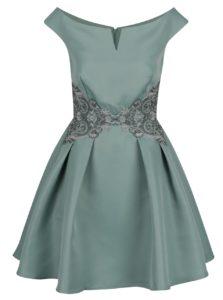 Svetlozelené šaty s lodičkovým výstrihom a čipkovaným zdobením Little Mistress