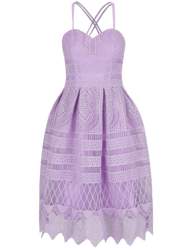 Fialové čipkované šaty Chi Chi London