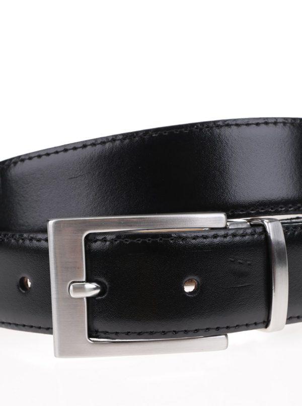 Čierny kožený opasok s kovovou prackou Selected Homme Belt