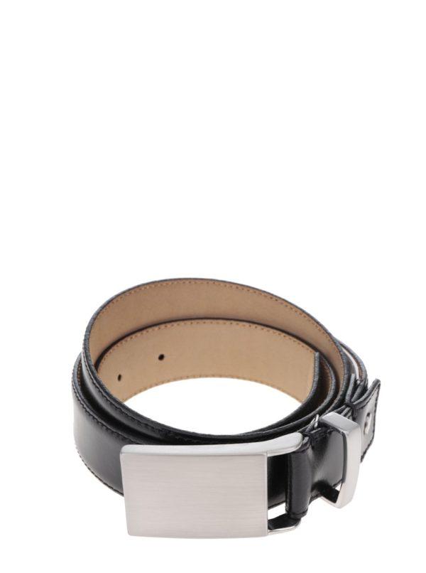 Čierny kožený opasok s kovovou sponou Selected Homme Belt