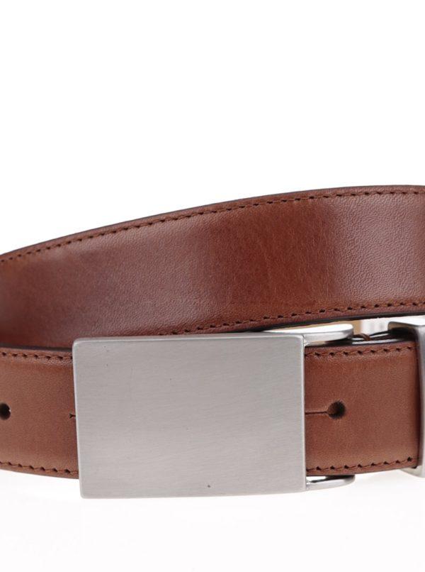 Hnedý kožený opasok s kovovou sponou Selected Homme Belt