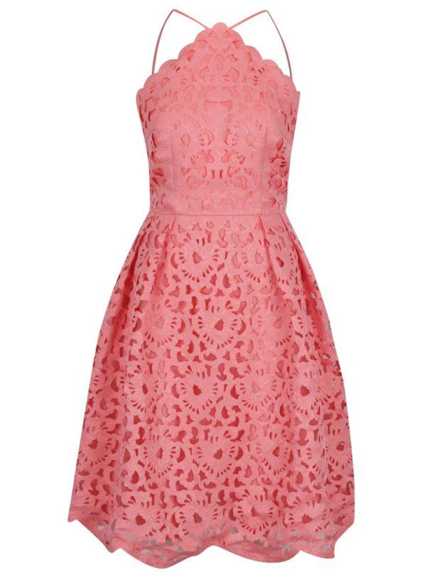 Ružové čipkované šaty Chi Chi London