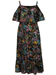 Čierne kvetované maxišaty s odhalenými ramenami Dorothy Perkins Curve