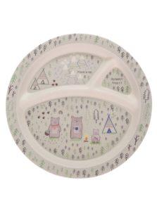 Krémový detský tanier s motívom lesa Sass & Belle Bear Camp