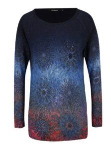 Tmavomodrý kvetovaný sveter Desigual Basic Carlin