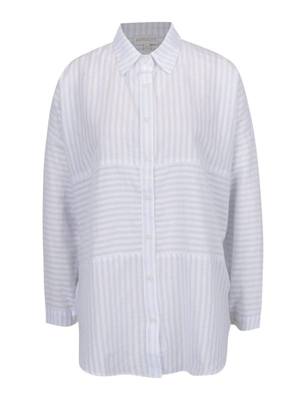 Krémovo-modrá pruhovaná voľná košeľa Apricot
