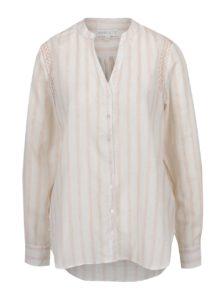 Ružovo-krémová pruhovaná košeľa s vyšívaním Apricot