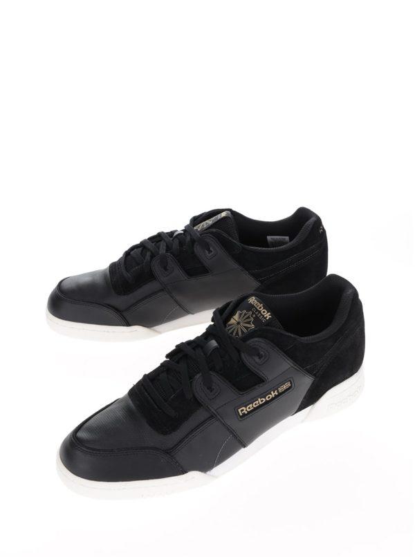 Čierne pánske kožené tenisky so semišovými detailmi Reebok Workout Plus ALR d0e19fdeef5