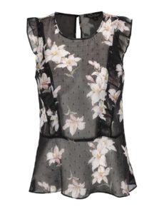 Čierna kvetovaná priesvitná blúzka Miss Selfridge
