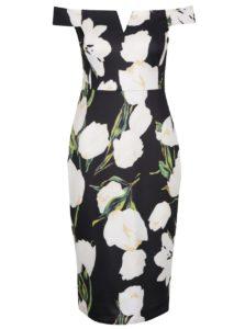 Čierne kvetované šaty s odhalenými ramenami AX Paris