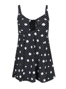 Bielo-čierne jednodielne bodkované plavky Ulla Popken
