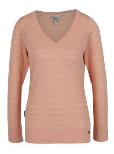 Oranžová dámsky ľahký sveter s véčkovým výstrihom BUSHMAN Samsula