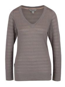 Sivý dámsky ľahký sveter s véčkovým výstrihom BUSHMAN Samsula