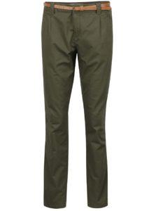 Zelené chino nohavice s opaskom VERO MODA Boni