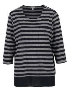 Modrý pruhovaný ľahký sveter so všitou blúzkou Gina Laura