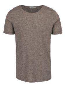 Sivé melírované basic tričko s prímesou ľanu Jack & Jones Randy
