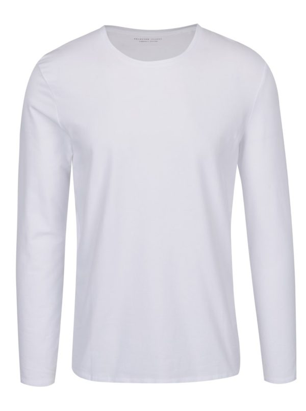 Biele basic tričko s dlhým rukávom Selected Homme Basic