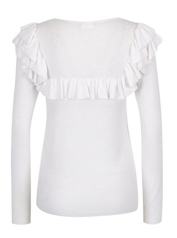 Biely ľahký sveter s volánikmi VILA Lost