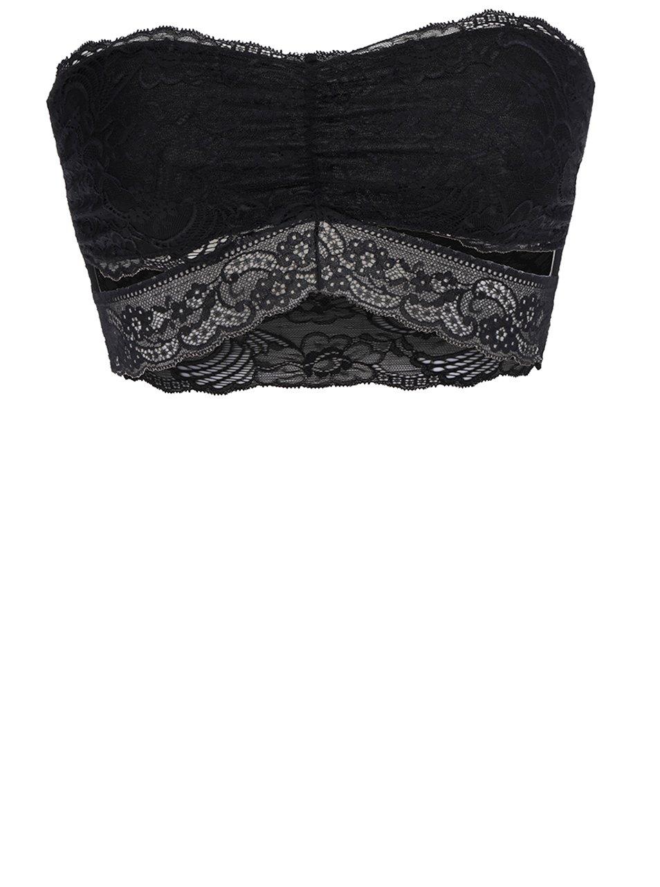 b0a5d9798 Čierna čipkovaná podprsenka bez ramienok Pieces Arianne | Moda.sk