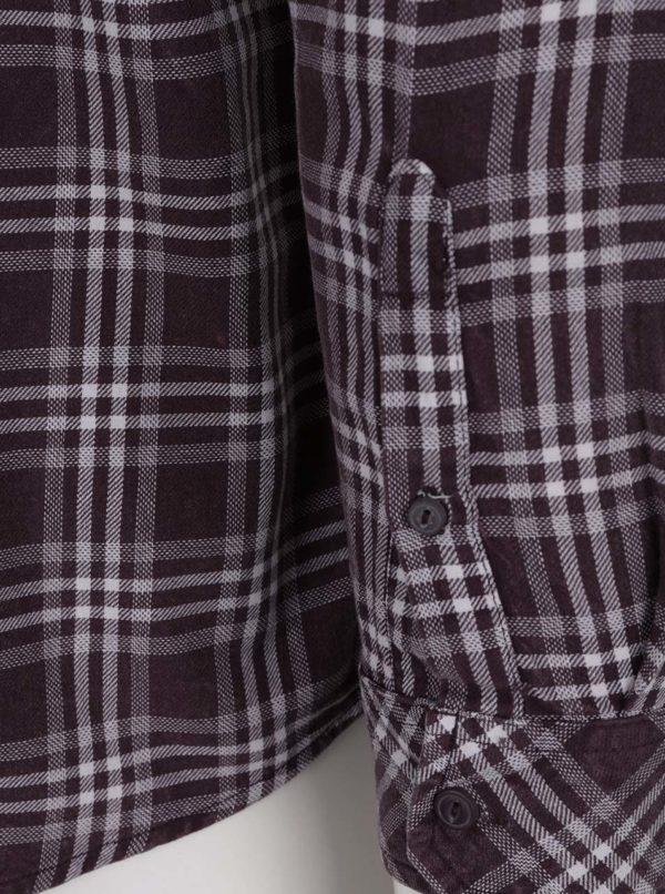 Vínová kockovaná slim fit košeľa s dlhým rukávom ONLY & SONS Tio