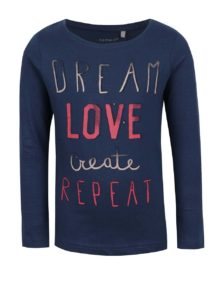 Modré dievčenské tričko s dlhým rukávom name it Veenibi