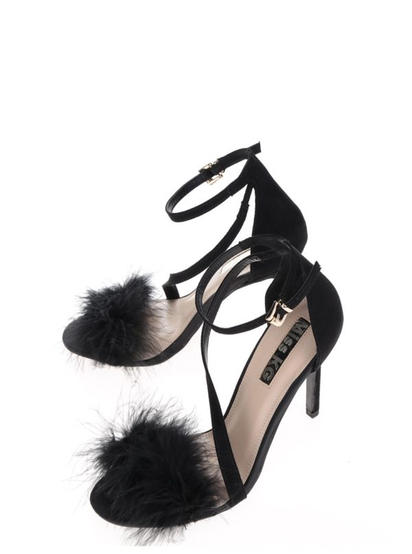 Čierne sandálky v semišovej úprave na ihlovom podpätku Miss KG Flirt