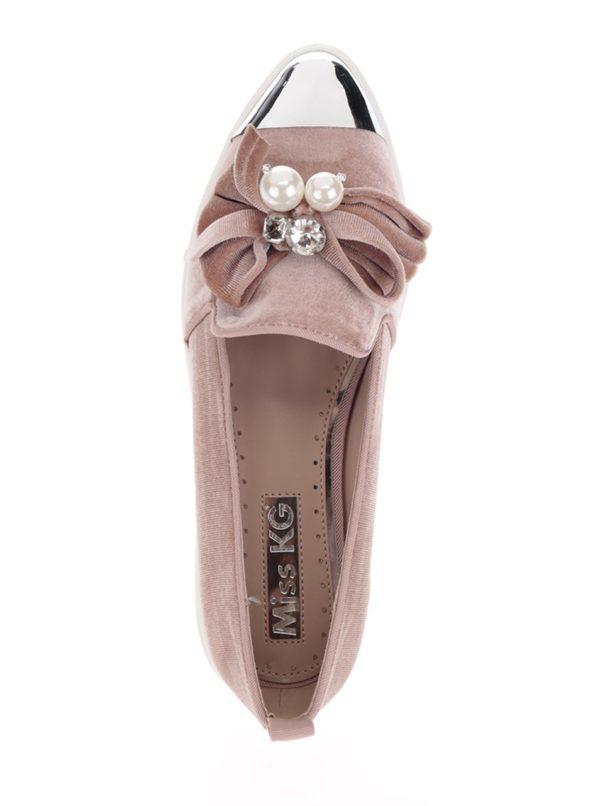 Ružové loafers s mašľou a špičkou v striebornej farbe Miss KG Lottie