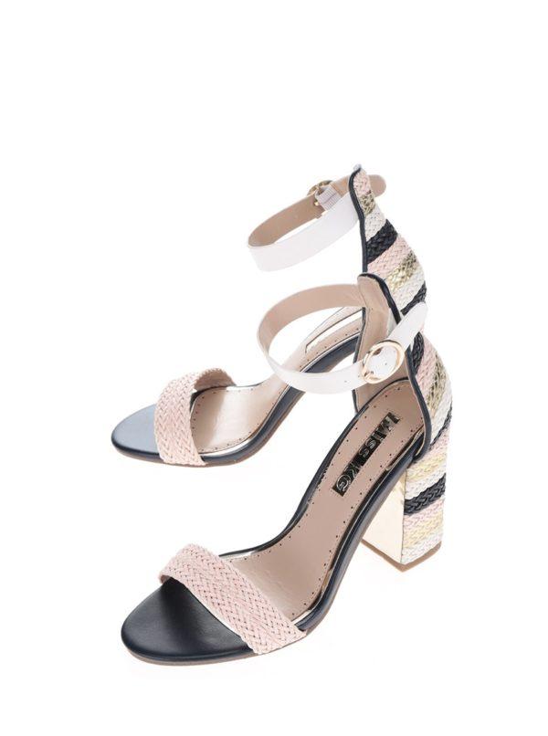 8cb9b226407d Krémovo-ružové sandálky na vysokom podpätku Miss KG Ebony