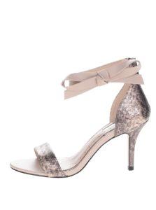 Béžové sandálky na ihlovom podpätku s hadím vzorom Miss KG Gabby